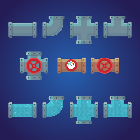 Set of pipes plumbing. Elements for games and mobile applications. Vector illustration in cartoon style.