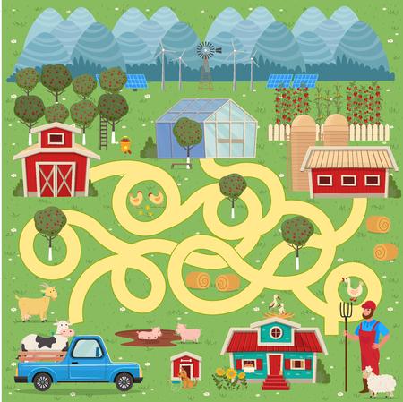 Cartoon map with farm. Vector funny maze game. Иллюстрация