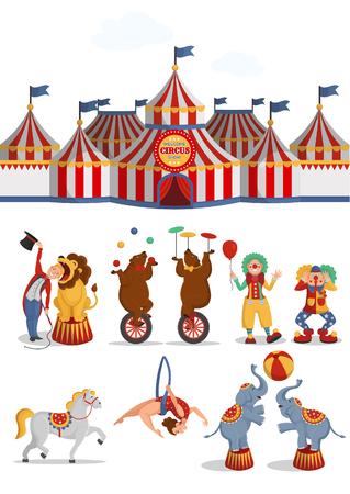 Circus set: tent, lion, bears, aerial acrobat, clowns, horse, elephants. Vector cartoon illustration on white background.