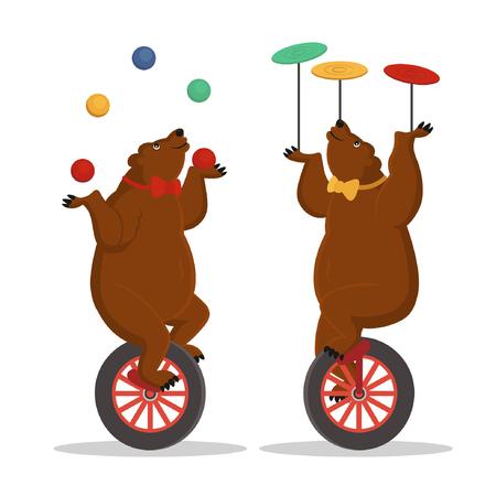Circus bears juggle on a bicycle. Vector cartoon illustration.