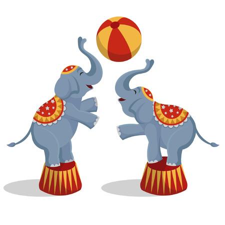 Vector illustration circus elephants playing ball. Иллюстрация