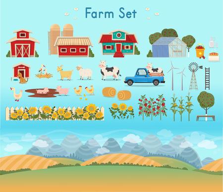 Farm Set. Farm panorama with a greenhouse Иллюстрация