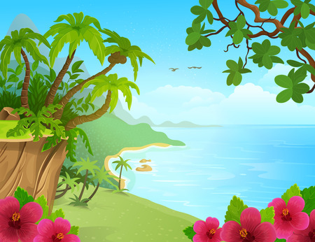 Cartoon tropical island with palm trees. mountains, blue ocean, flowers and vines. Vector illustration