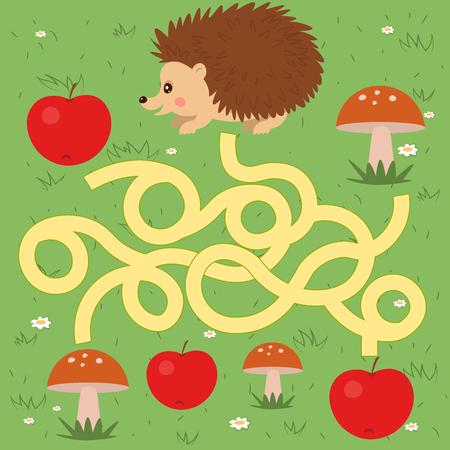 Vector funny maze game with a hedgehog Иллюстрация