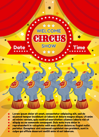 Vector illustration of a circus poster with elephants. On a yellow background.
