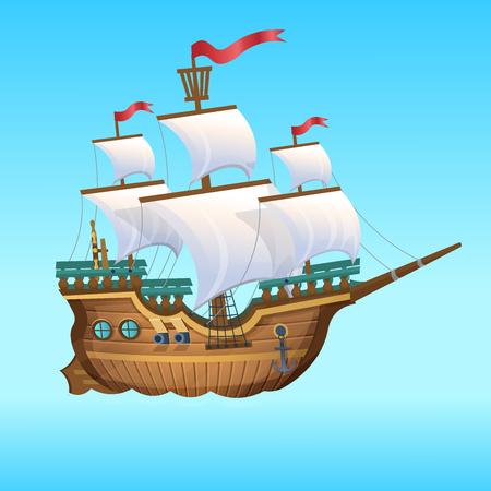 Ilustracja kreskówka wektor. Statek piracki, żaglowiec.