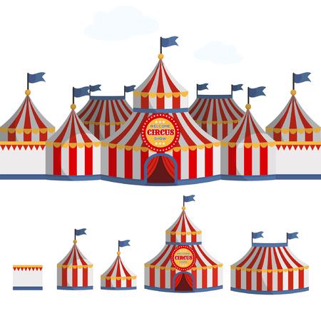 Circus tent cartoon vector illustration.