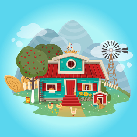 Farmhouse in cartoon flat style. Vector illustration.