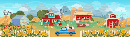 Farm panorama with a greenhouse, barn, houses, fields, trees and farm animals. Vector illustration in flat cartoon style. Seamless background on layers.