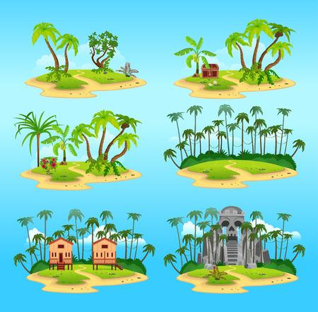 Set of tropical islands. ?artoon map elements.Vector illustration in flat style Иллюстрация