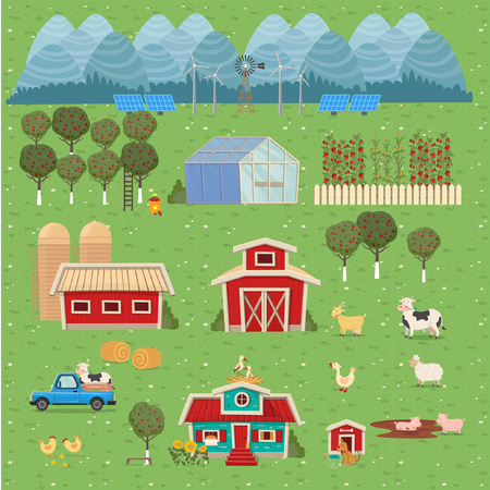 Set of farm houses, greenhouse, barn, house with a mill. Vector illustration in flat cartoon style.