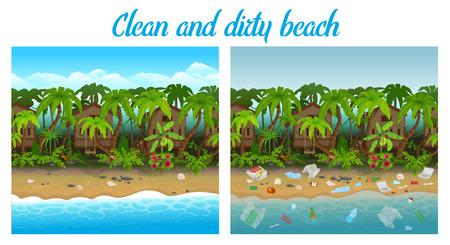 Clean and dirty beach cartoon vector illustration.