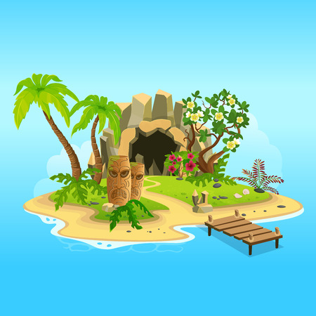Cartoon tropical island with a cave and totems. Vector illustration for games. Иллюстрация