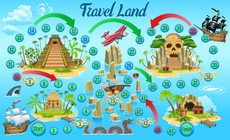 Game board for children. Ship trip for treasure. Vector illustration.