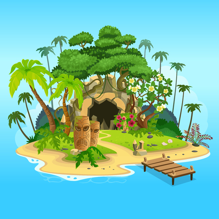 Cartoon tropical island with a cave and totems. Vector illustration for games. Vettoriali