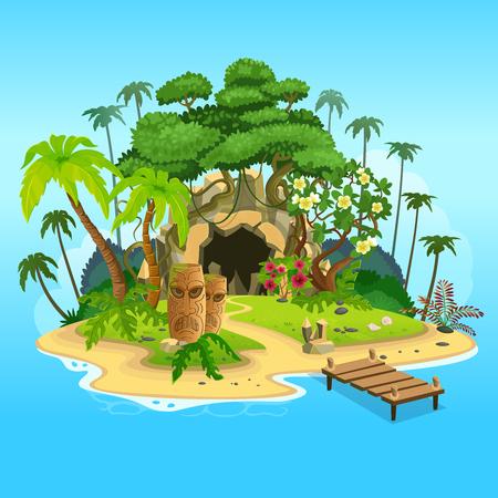 Isola tropicale dei cartoni animati con una grotta e totem. Illustrazione di vettore per i giochi. Vettoriali