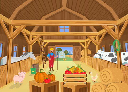 A barn with animals and farmer, view inside. Vector illustration in cartoon style Иллюстрация
