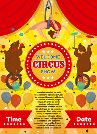 Vector illustration of a circus poster with bears and acrobat. On a yellow background.