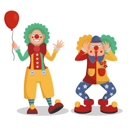 Funny cartoon circus clowns vector illustration.