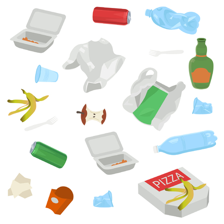 Set of garbage on white background. Vector illustration.