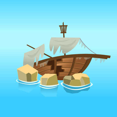 A broken ship in the sea. Vector illustration in cartoon style.