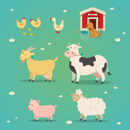 Set of farm animals in a flat cartoon style. Vector illustration chicken, cow, goat, pig, duck, dog and doghouse
