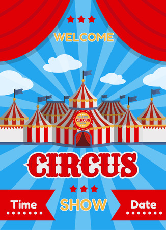 Vector illustration of a circus poster with tents. Vettoriali
