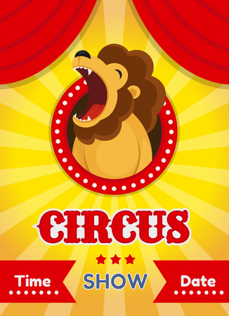 Vector illustration of a circus poster with a lion. On a yellow background.