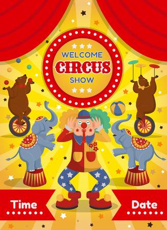 Vector illustration of a circus poster with bears, elephants and a clown. On a blue background. On a yellow background.