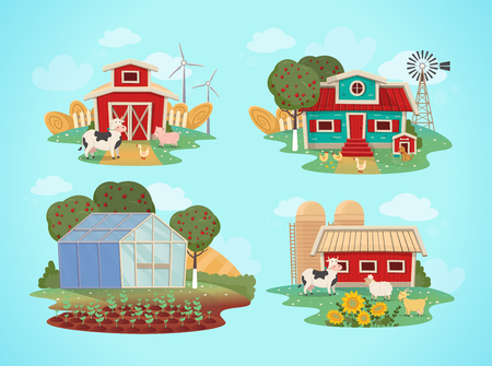 Set of farm houses. greenhouse, barn, house with a mill. Vector illustration in flat cartoon style.