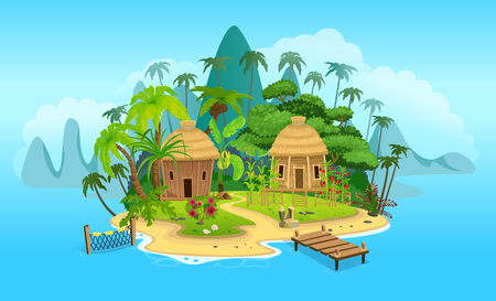 Cartoon tropical island with a huts. Vector illustration for games. Stock Vector - 123414435
