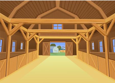 Una stalla per animali da fattoria, vista interna. Illustrazione vettoriale in stile cartone animato Vettoriali
