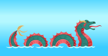 Sea Monster Dragon. Vector illustration in cartoon style.