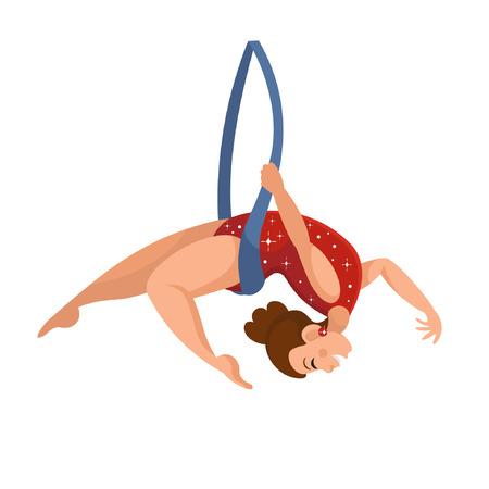Gimnasta de aire de circo de dibujos animados con cinta. Ilustración vectorial sobre fondo blanco. Ilustración de vector