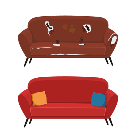 Old and new sofa vector illustration