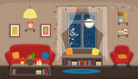 Living room with chair, sofa, window, bookshelf. Flat Sozy interior in cartoon style.