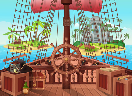 SHIP OF PIRATES with an island on the horizon. Vector illustration of sail boat bridge view. Background for games and mobile applications. Sea battle or traveling concept.