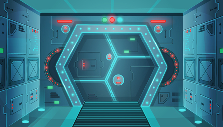 Hallway with sci-fi spaceship. Background for games and mobile applications.