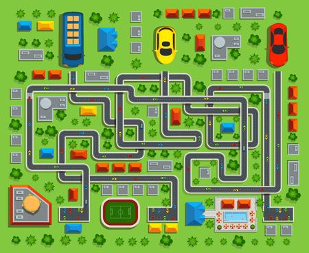 De la vue de dessus de la ville. Labyrinthe de jeu d'enfant. Illustration vectorielle.