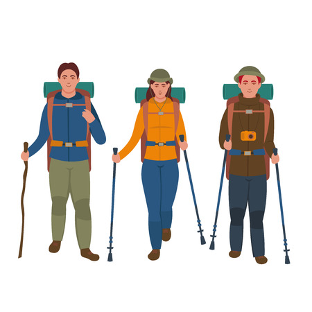 Group of hikers with backpacks are traveling. Vector illustration in cartoon style. Vettoriali