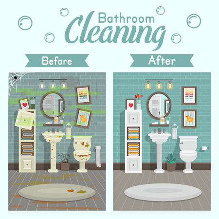 A modern style. A concept for cleaning companies. Before and After Cleaning. Flat vector illustration.