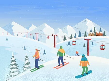 Winter landscape with ski lift, mountains, people skiing, snowboarding. Ski resort. Vector flat illustration. Archivio Fotografico