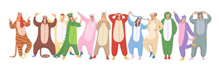 Set of women and men are wearing of animals pajamas on Halloween or new Year pajamas party. Suits are from chinese calendar: tiger, monkey, chicken, dragon, pig, dog, bull, rabbit, sheep, sheep, snake