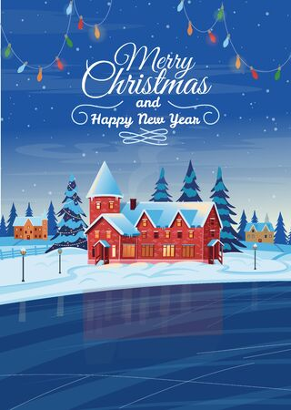 Winter night landscape with houses, Christmas tree and frozen lake. Vector drawing illustration in flat cartoon style. Vertical background. Christmas card.