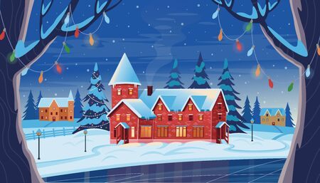 Winter night landscape with houses, Christmas tree and frozen lake. Vector drawing illustration in flat cartoon style. Horizontal background. Christmas card.