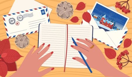 A Woman writing by hand in a notebook. A Concept of letter mailing, greeting card for friends, a to-do list, a wish list. Vector illustration in a flat cartoon style. Archivio Fotografico