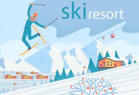 Skier making somersault. Winter landscape with ski lift, houses and mountains. Ski resort. Vector flat illustration. Archivio Fotografico