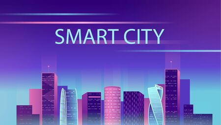 Smart city neon glowing cityscape for website and mobile website. Vector illustration. Archivio Fotografico
