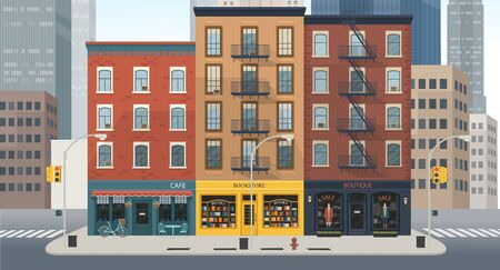 City building houses with shops: boutique, cafe, bookstore. Vector illustration in flat style.
