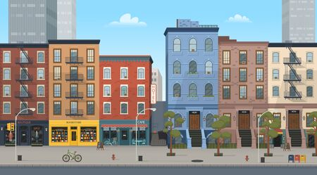 City building houses with shops: boutique, cafe, bookstore. Vector illustration in flat style. Background for games and mobile applications. Archivio Fotografico